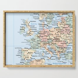 World Map Europe Serving Tray