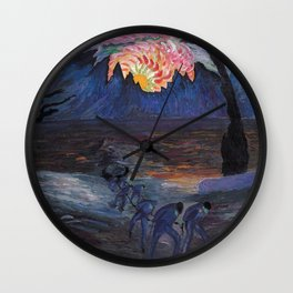 Mountain Sunrise after Fishing nautical landscape painting by Marianne von Werefkin Wall Clock