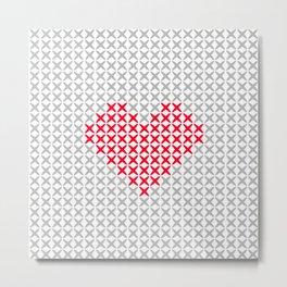 Pink Heart Embroidery Print Metal Print