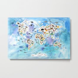 Cartoon animal world map, back to school. Animals from all over the world, blue watercolour watercolor Metal Print