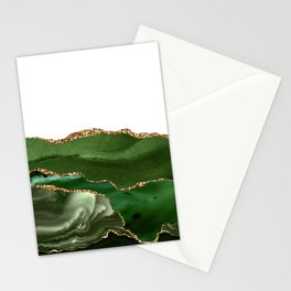 Beautiful Emerald And Gold Marble Design Stationery Cards