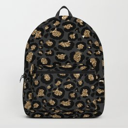 Black Gold Leopard Print Pattern Rucksack