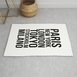 PARIS NEW YORK LONDON TOKYO STOCKHOLM MILANO Quote Rug