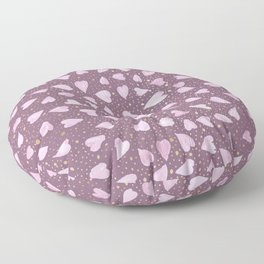 Abstract Purple Watercolor Pink Hearts Gold Dots Pattern Floor Pillow