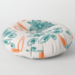 pattern with flowers and leaves Floor Pillow
