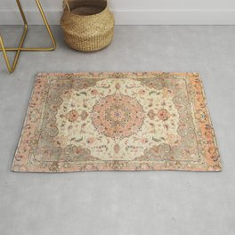 North-West Persia Tabriz Old Century Authentic Colorful Blush Peach Peachy Vintage Patterns Rug