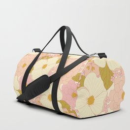 Pink Pastel Vintage Floral Pattern Duffle Bag