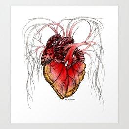 Butterfly Heart Red Art Print