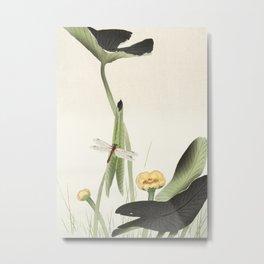 Dragonfly on Lotus Flower - Vintage Japanese woodblock print art Metal Print