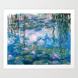 Water Lilies Monet Teal Art Print