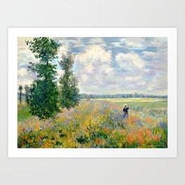 Poppy Fields near Argenteuil by Claude Monet Kunstdrucke