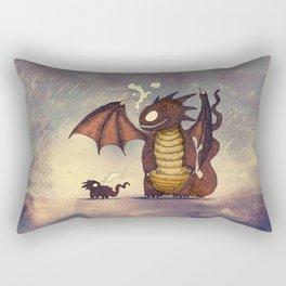 Dragons in the Rain Rectangular Pillow