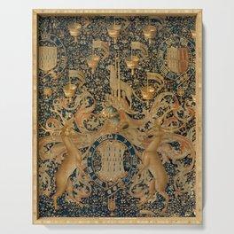 Vintage Golden Deer and Royal Crest Design (1501) Serving Tray
