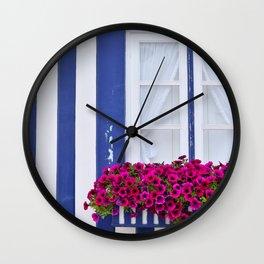 Beautiful purple petunias Wall Clock