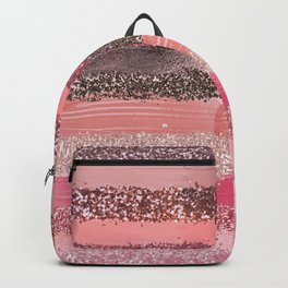 Girly Chic Pink Coral Paint Glitter Brushstrokes Backpack