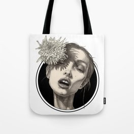 Katty and Flower Black Circle Tote Bag