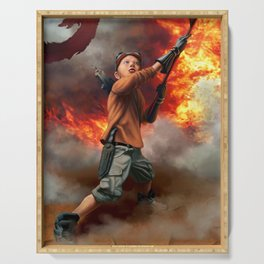 Young Warrior Waving Flag Sci Fi Fire Serving Tray