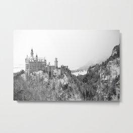 Black and White Neuschwanstein Castle in Winter Metal Print