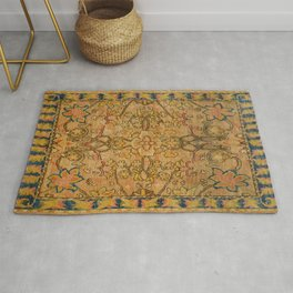 Golden Floral 19th Century Authentic Colorful Gold Yellow Green Vintage Patterns Rug
