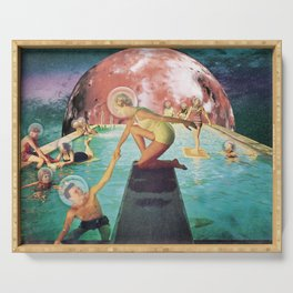 Infinity Pool- People Swimming in Space Digital Collage Art Print Serving Tray