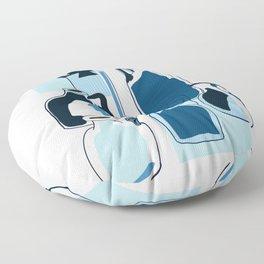 Blue vintage glass bottles  Floor Pillow