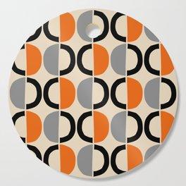 Mid Century Modern Half Circle Pattern 548 Beige Black Gray and Orange Cutting Board