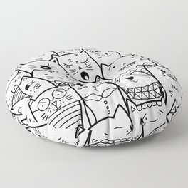 Black and White Cat Expressions Floor Pillow