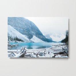 352. Quiet Moraine Lake under snow, Banff, Canada Metal Print