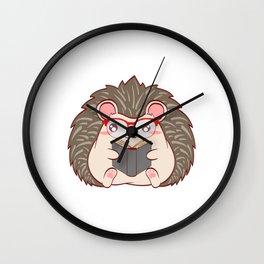 "Hedgehog ""Reader"" Christmas Design For Students T-shirt Design Animals Reading Read Books Study Wall Clock"