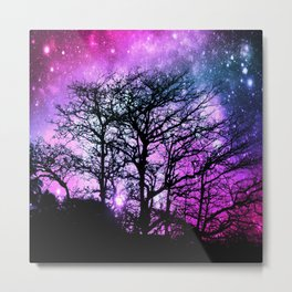 Black Trees Fuchsia Purple Teal Space Metal Print