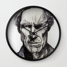 Clint Eastwood Pen portrait Wall Clock