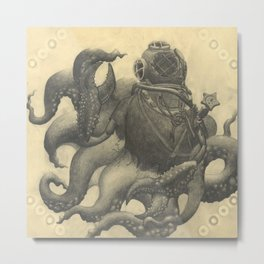 Scuba Diver with Crab Hands Metal Print