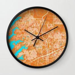 Frisco, TX, USA, Gold, Blue, City, Map Wall Clock