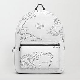 World Map minimal sketchy black and white Backpack