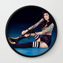 Tattooed Woman in Roller Skates Wall Clock