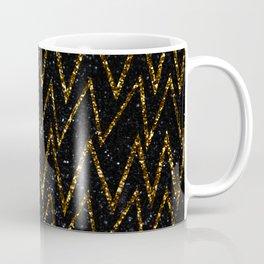 Gold Glitter Zigzag Lines on Metallic Background Coffee Mug