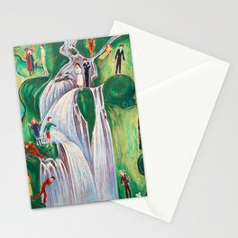 The Waterfall, Elgafossen - The Stages of Life, Love, Loss & Death portrait painting by Nils Dardel Stationery Cards