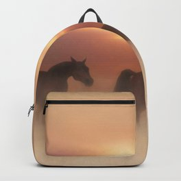 Horses in a misty dawn Backpack