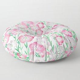 Elegant Pink White Green Glitter Carnations Floral Floor Pillow