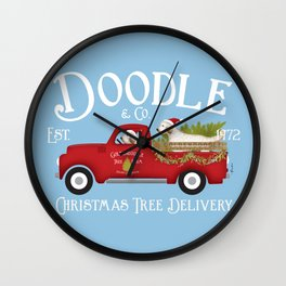 Doodle Goldendoodle Dog Red vintage truck Christmas Tree Farm  Wall Clock