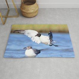 Watercolor Bird, Black-headed Gull 04, Janes Island, Maryland Rug