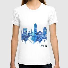 Elizabeth New Jersey Skyline Blue T-shirt