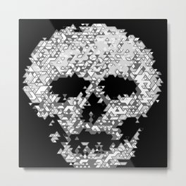 Geometric Light Grey Skull Composed Of Triangles Metal Print
