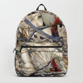 Half-sider Cardinal, half white, half red gynandromorph songbird portrait Backpack