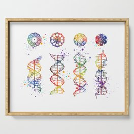 DNA Helix A-B-C-Z Medical Art Prints Genetic Doctor Gift Biology Poster DNA Print Watercolor Print Serving Tray