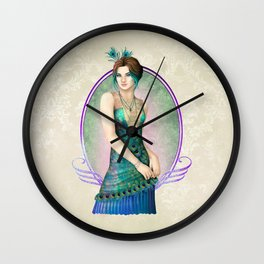 Peacock Gown Wall Clock