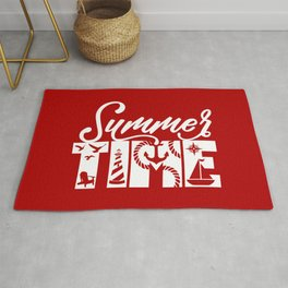 Summer TIME Nautical Solid Red, Seagull, Lounge Chair, Lighthouse, Anchor, Rope, Compass, Sail Boat Rug