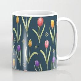 tulips on a rich navy background Coffee Mug