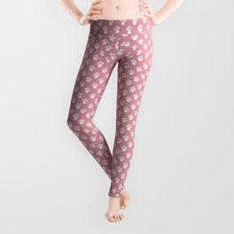 Tiny Paw Prints - White on Pink Leggings
