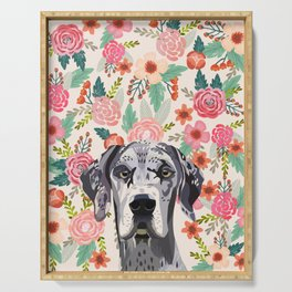 Great Dane florals pet portrait art print and dog gifts Serving Tray